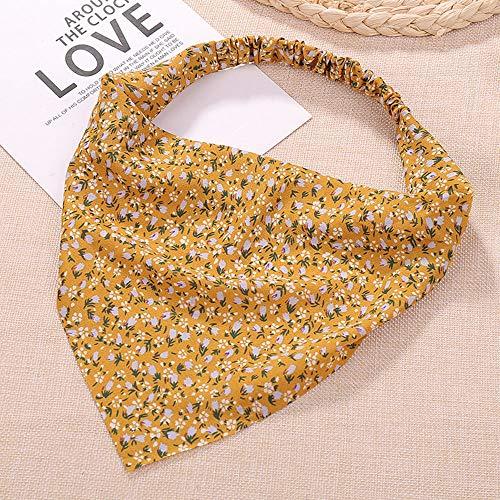 Dreieckiges Haarband, süßer Blumendruck, dünn, elastisch, Haarschmuck, Blumenturban für Frauen und Mädchen (gelb)