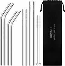 """Stainless Steel Straws FDA Approval, GOMMLE Reusable Metal Drinking Straws, 10.5"""" / 8.5"""" Length 0.24"""" Diameter, for Smooth..."""