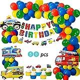 REYOK Anniversaire Décorations Jouets Ballons,Ballons de Voiture Anniversaire Bannière Véhicules de Transport Aluminium Ballons Avion Train Voiture de Police Yacht Camion de Pompier pour Garçon Fille