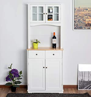 Urest Buffet Hutch with Wood Top, Glass Doors, Storage Cabinet,Drawers, White