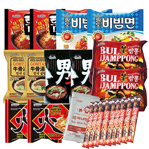 Korean Hit K-Foods Noodle Ramen Variety Pack w/ Tteokbokki Sauce & Instant Coffee Mix Box, Teumsae, Bibimmen, Gomtang, Hwa, Bul Jjamppong, Namja Ramen, Pack of 23