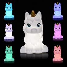 Unicorn LED Night Light for Kids, Portable USB Rechargeable 7-Color Touch Control Nursery Night Lamp for Bedroom Home Deco...