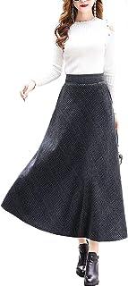 (アイノウ)AINOR レディーススカート クラシック チェック柄 無地 フレアスカート パーティー 結婚式 披露宴 通勤 半身スカート ハイウェスト 超ロング丈 厚手 秋冬 大きいサイズ マキシスカート (4スタイル)