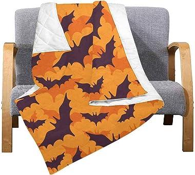 INTERESTPRINT Halloween Pattern with Flying Black Bat Comforter Thin Quilt Lightweight Comforter
