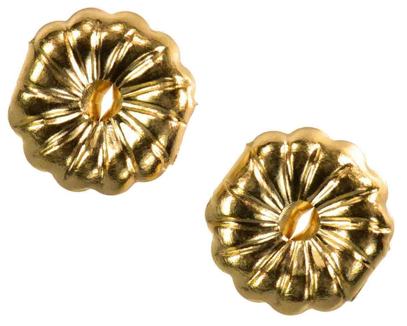 Solid 14K Yellow Gold Earring Backs Premium Swirl 9mm (1 Pair)