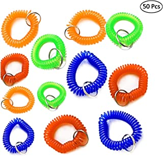 LW 50 pcs Mix-Colour Plastic Stretchable Spring Coil Wrist Band Key Ring Chain for Gym, Pool, ID Badge (Colors Mixed)