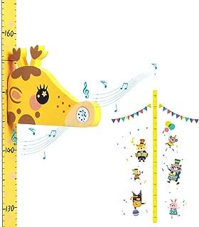Supoggy Tabla de Altura de Crecimiento del Bebé/Medidor de Altura para Niños, Lienzo y Madera que Cuelgan la Regla de Pared Extraíble para Niños, Decoración de la Pared AMARILLO