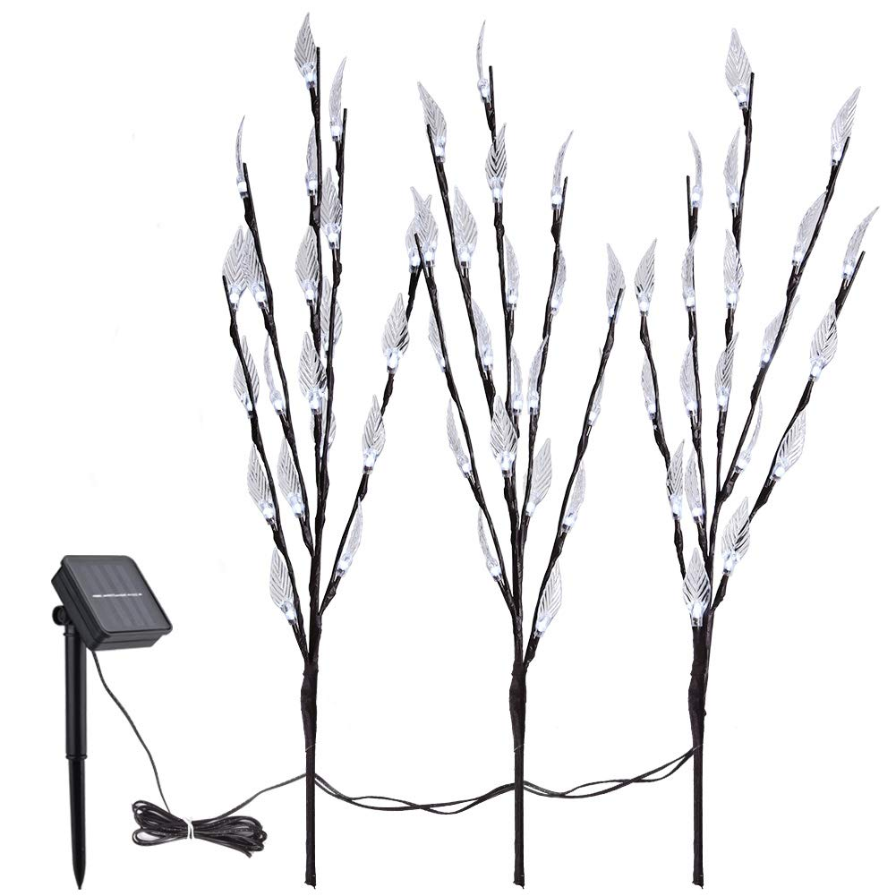 Outdoor Decorative Accents Set of 3 Blue Collections Etc Bright Leaf Branch Solar Garden Lights with Adjustable Branches 60