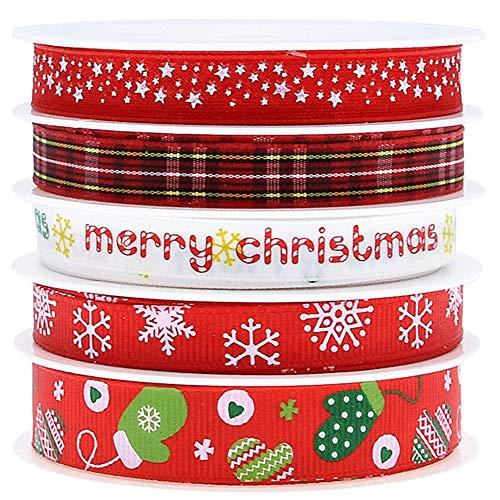Jixista Satinband Bänder Satinbänder Geschenkband Geschenkbänder Schleifenband Stoffband Weihnachtsband Snowflake Band Geschenkverpackung Band für Haarband zum Verpacken von Geschenken 5 Rolls