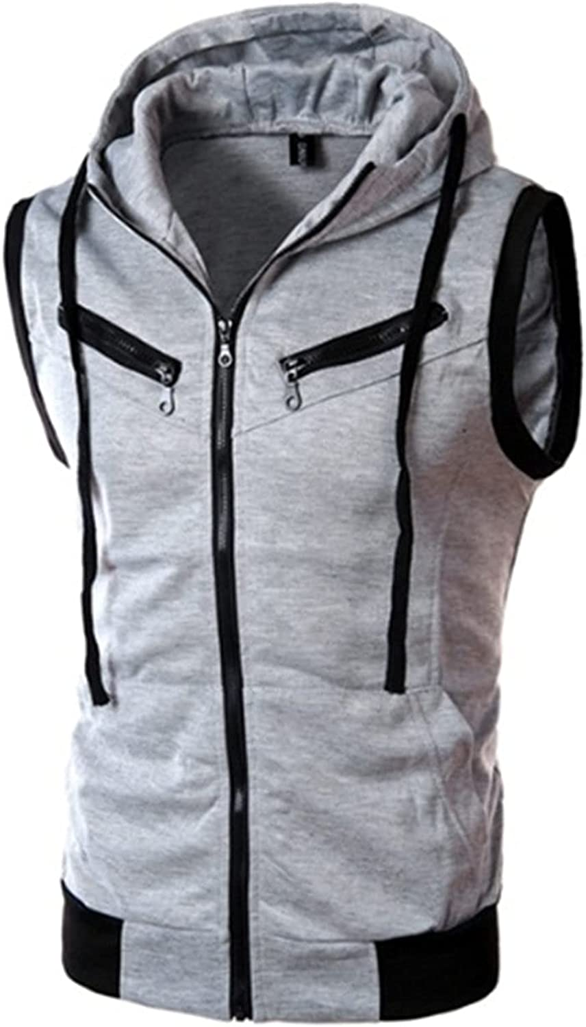 Men's Basic Solid Cotton Based Zipper Vest Hoodie Slim Fit Sleeveless Lightweight Drawstring Gilet Casual Jacket with Pockets