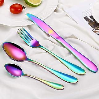Juego de cubiertos, un juego de cuchillos de acero inoxidable duradero, cuchara y cuchara, para uso personal Multicolor