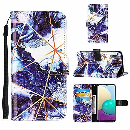 TTNAO Handyhülle Kompatibel mit Samsung Galaxy M02 Hülle Brieftasche Case Magnetverschluss Marmormuster Schutzhülle Stoßfest+ [1 Stück] Panzerglas Schutzfolie-Dunkelblau