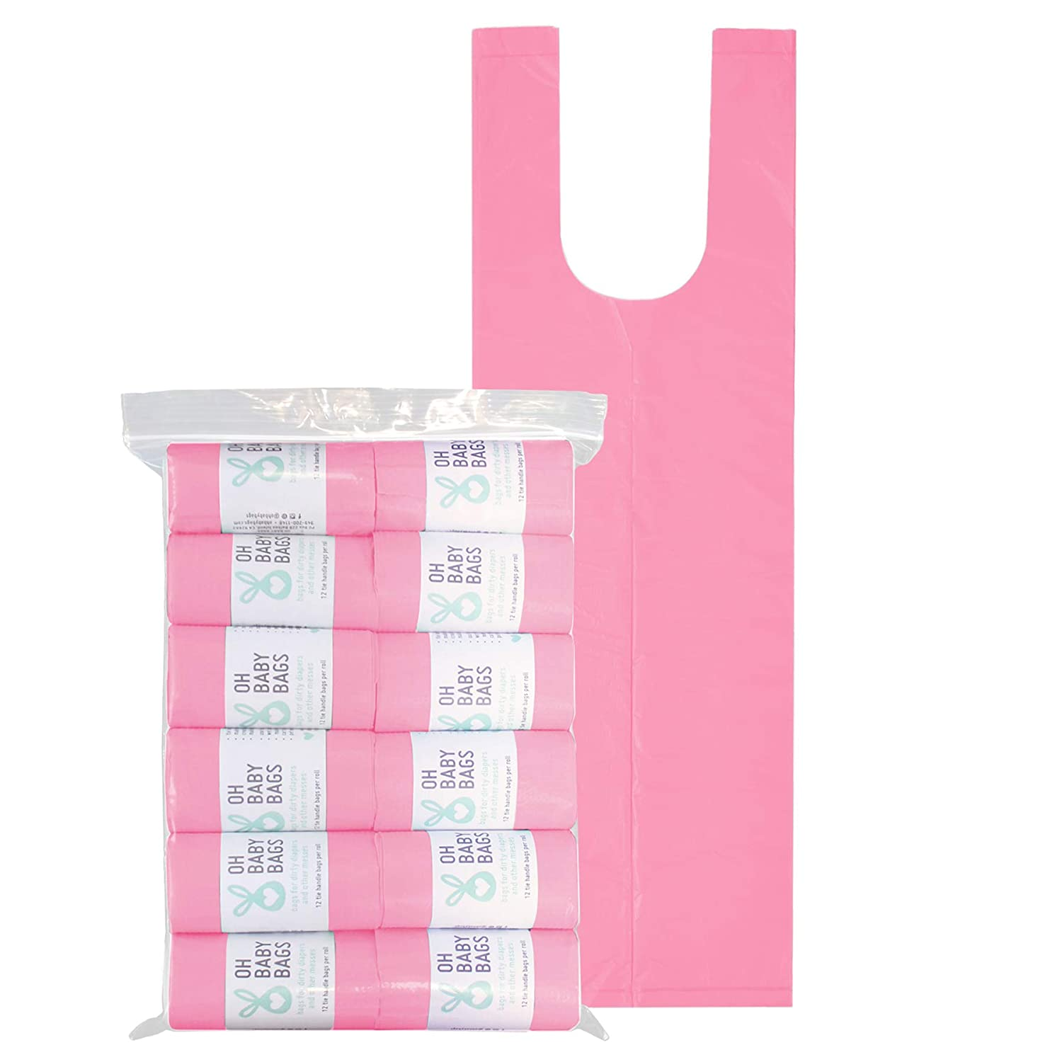Oh Baby Bags Disposable Dirty Diaper Bags, 144 Count, 12 Rolls of Large Tie Handle Bags, Scented (Pink)
