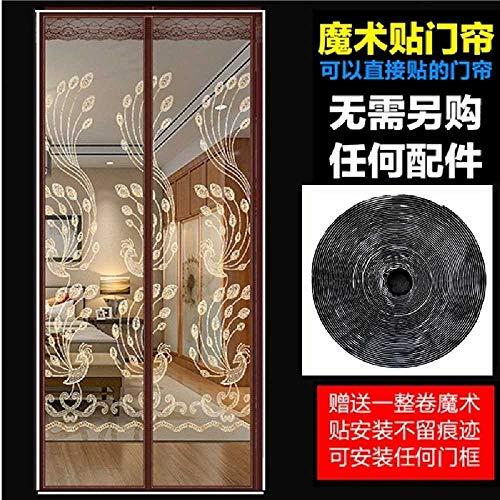 zhtao Gestickter Anti-Moskito-Magnetvorhang Anti-Moskito-Vorhang Magnetvorhang Anti-Moskito-Bildschirm 95 * 205 / Phoenix + Kaffee Stickerei + Klettverschluss