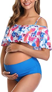Womens Maternity Bikini Flounce Printed High Waisted Two Piece Swimsuit