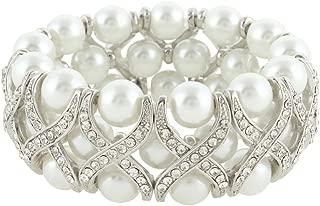 Wedding X-Shape Ivory Color Simulated Pearl Stretch Bracelet Clear Austrian Crystal Silver-Tone
