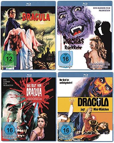 Dracula Blu-ray + Draculas Rückkehr Blu-ray + Das Blut von Dracula Blu-ray + Dracula jagt Mini-Mädchen Blu-ray (4er Blu-ray Set)