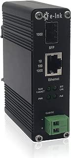 E-link 12-48V DC Input Industrial 10/100/1000Mbps SFP 30W PoE+ Optic Fiber Media Converter Hardened DIN-Rail Mounting 802.3at 48V POE Gigabit Ethernet to Fiber Converter