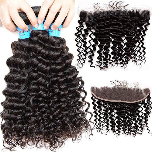 Noble Queen Hair Lot de 4 extensions de cheveux ondulés indiens bouclés avec fermeture frontale 10 A ondulées profondes et vierges Remy pour extensions de cheveux d'oreille à oreille, dentelle frontale (66 cm 71,1 cm + 1 x 45,7 cm)