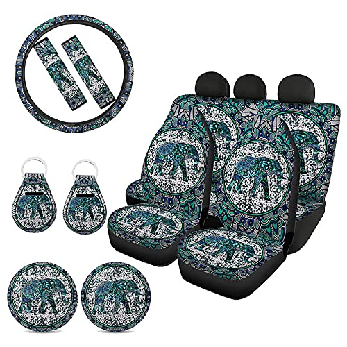 Goyentu Bohemian Mandala Green Elephant Print Car Seat Covers for Front and Back Full Set with Steering Wheel Cover Seatbelt Cover Cup Holder Coasters Auto Keychains Set,Universal Car Accessories
