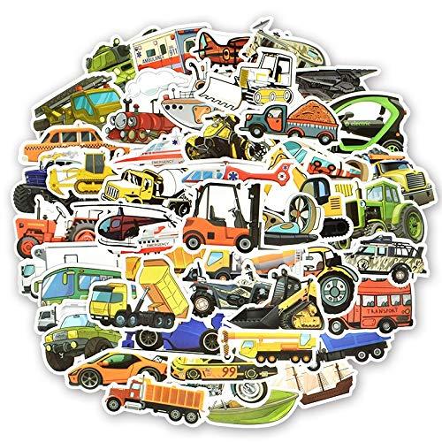 YZFCL Transport Cartoon Sticker Toy Boy Car Boat Airplane Anime Sticker DIY Children's Toy Room Learning Transport 50Pcs