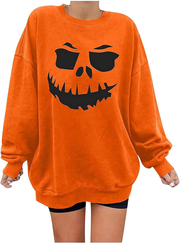 Women's Halloween Pumpkin Face Long Sleeve Sweatshirts Lightweight Crewneck Casual Pullover Tops