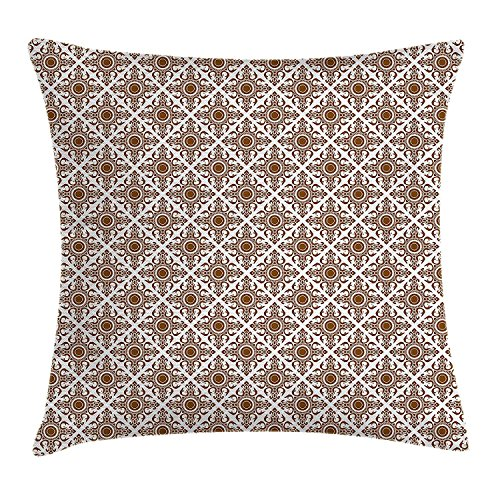 JIMSTRES Ethnic Throw Pillow Cushion Cover, Thai Mosaic Art Culture Stylized Abstract Lines Dots Pattern Folk Asian Design, Decorative Square Accent Pillow Case, Redwood White 22x22 inches