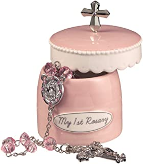Grasslands Road Girl's My First Rosary Cross 2 Piece Keepsake Box and Rosary Gifting Set, Pink