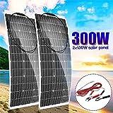 HMLIGHT Panel Solar monocristalino 300W / 150W Solar Portable Flexible Panel Flexible módulo de energía Solar para la Autocaravana, Barco, casa, jardín, caseta o agrícola