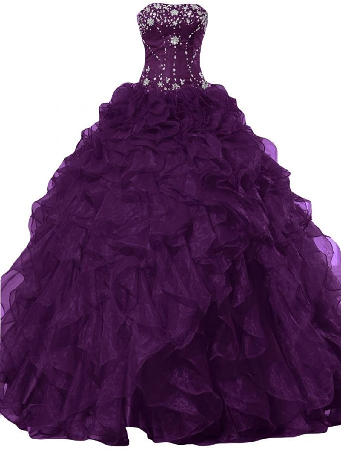 Y&C Women's Strapless Crystal Ruffles Quinceanera Dress