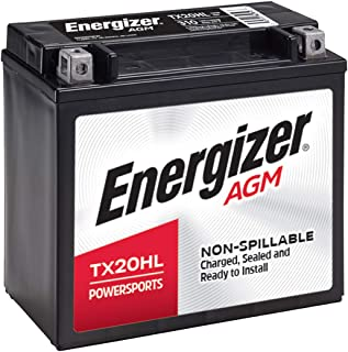Energizer TX20HL Black ETX20HL AGM Motorcycle and Atv 12V Battery, 310 Cold Cranking Amps and 18 Ahr. Replaces: YTX20L-BS and others