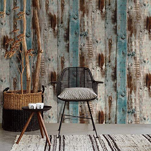 Papel pintado autoadhesivo con fondo vintage de PVC, papel pintado antifouling de fibra de madera marrón resistente al agua (45600 cm/rollo)