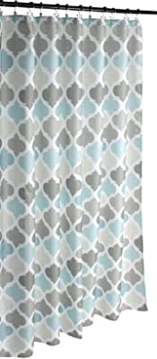 Universal Bathroom Fabric Shower Curtain for Men or Women: Earth Tones of Brown, Taupe, Slate Blue and Aqua (Brown, Turquoise, Beige, Taupe, Grey, White)