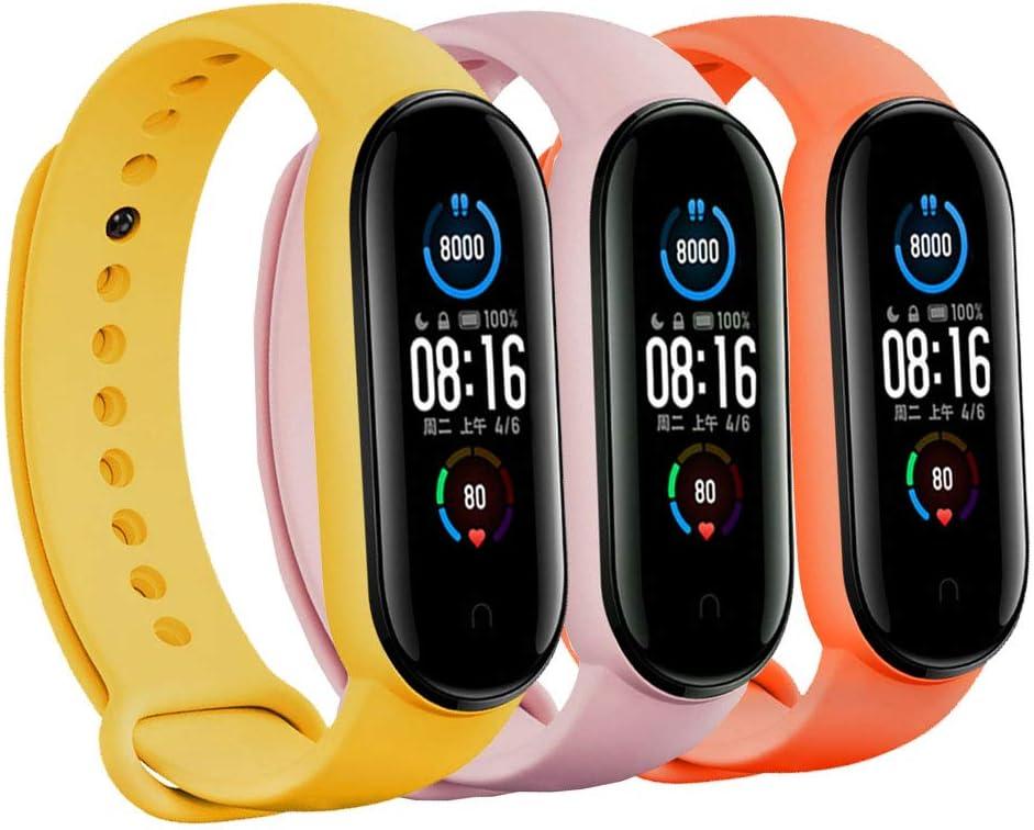 3 mallas para reloj  Xiaomi Mi Band 5 (amari, naranja, rosa)