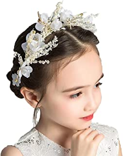 Campsis Floral Princess Wedding Headpiece Dried Flower Headband Dragonfly Tiara First Communion Hair Accessories for Women and Girls and Bridal Wedding Tiaras for Flower Girls and Bridesmaid Gold
