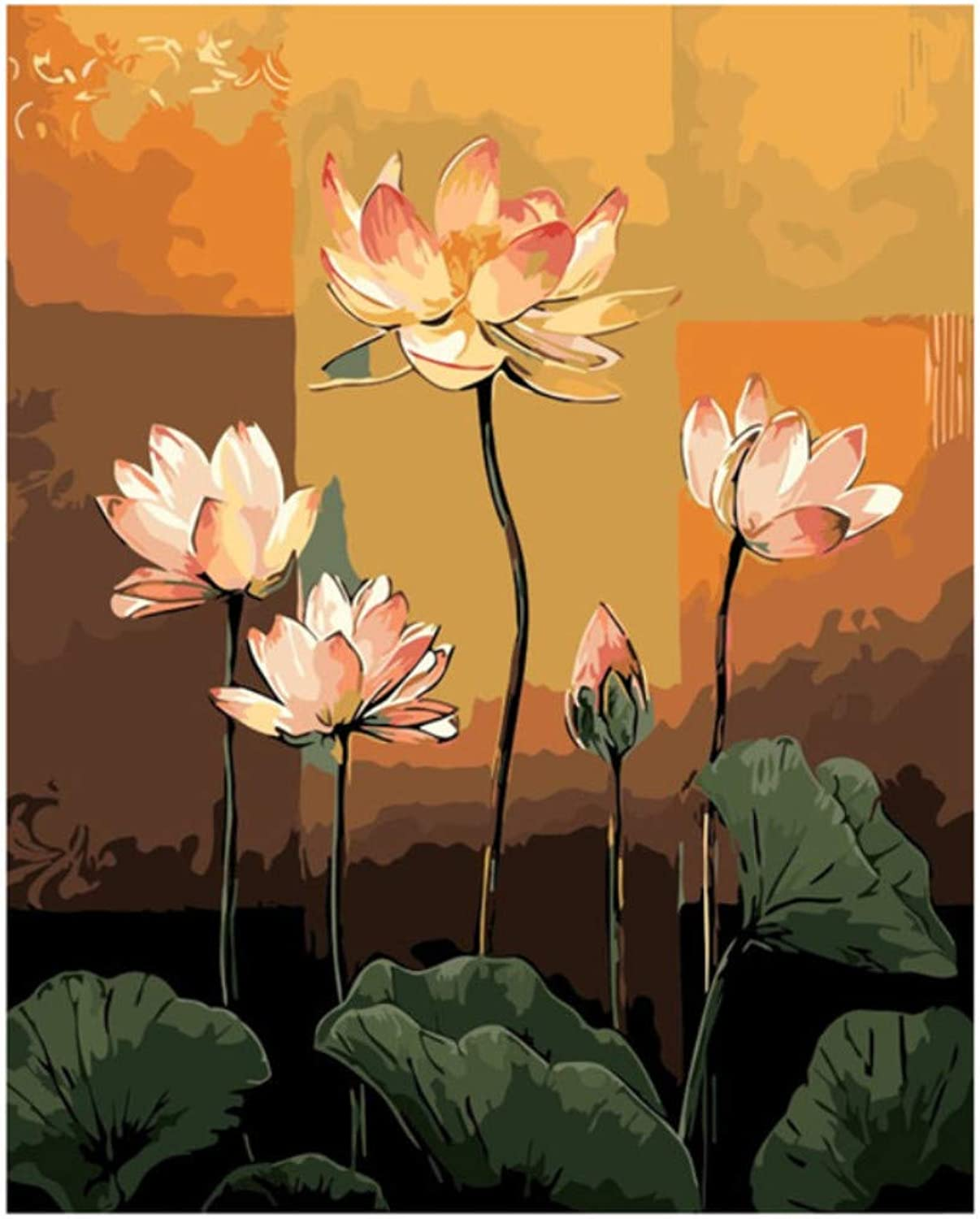 Pink Lotus Flowers Painting Drawing by Number Pictures Paints Painting by Numbers Kits Wall Art Acrylic Picture Gift Room Decor 50x60CM