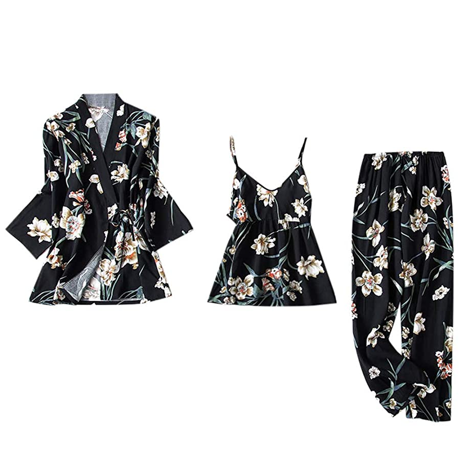 CCOOfhhc Pajamas for Women Floral Kimono Robe Nightwear Satin Short Robe Kimono with Belt Three Piece Short Set