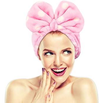 Fasce per il trucco Hairizone per viso, doccia, maschera spa, morbido e carino, fiocco grande, per donna e ragazza, rosa
