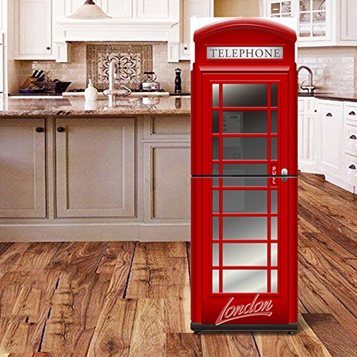 XIAOMAN Adesivi per frigo da Cucina Cabina telefonica Britannica HD Frigorifero Porta Wrap Cover Rimovibile Fai da Te Art Decal (Color : Multi-Colored, Size : 60 * 180cm)