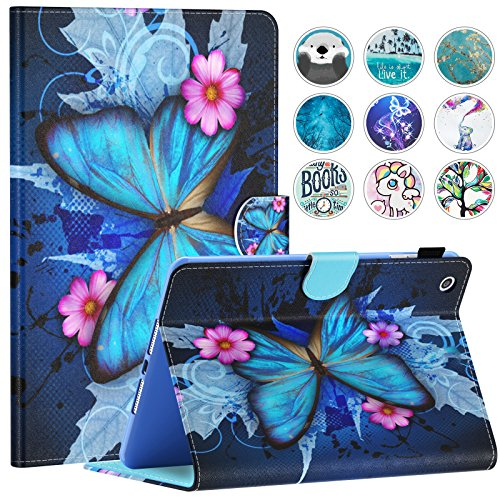 iPad Mini Case, Mini 2 3 4 5 Case, Dteck Slim Fit Folio Stand Leather Case with Auto Sleep Wake Magnetic Wallet Smart Cover for Apple iPad Mini 1 2 3 4 5 (Blue Butterfly & Pink Flower)