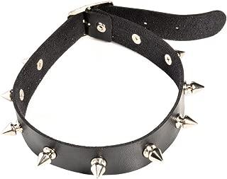 SUNSCSC Vintage Punk Goth Studded Rivet Pu Leather Collar Choker Necklace