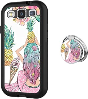Samsung Galaxy S3 case Pineapple Mermaid Full Body Case with Holder Ring Cover Protector Heavy Duty Protection case Shockproof case for Samsung Galaxy S3