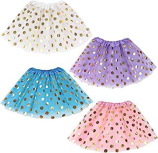 Koogel 4 PCS Tutu for Toddler Girls, 3-Layer Dress Up Tutu Polka Dot Multicolor Tutu Skirts Ballet Skirts for Dress Up Gam...