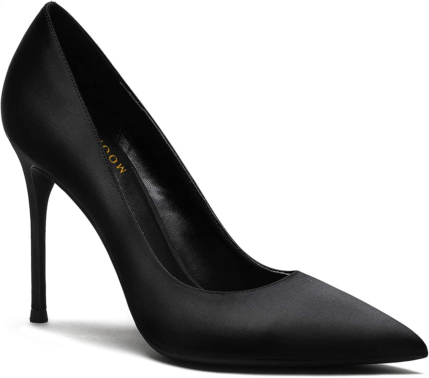 MOOMMO Women Satin High Heel Pumps It is very popular Toe 4 Pointed Stilettos Sexy Max 65% OFF