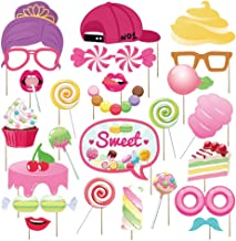 Kristin Paradise 30Pcs Candy Land Photo Booth Props with Stick, Candyland Selfie Props, Lollipop Party Supplies, Candy Shop Birthday Theme Backdrop Decorations, Boy Girl First 1st Bday Baby Shower