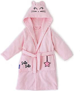 Milk&Moo Chancin Velvet 100% Cotton Hooded Bathrobe for Kids and Toddlers, Ultra Soft and Absorbent Towel Robes for Girls ...