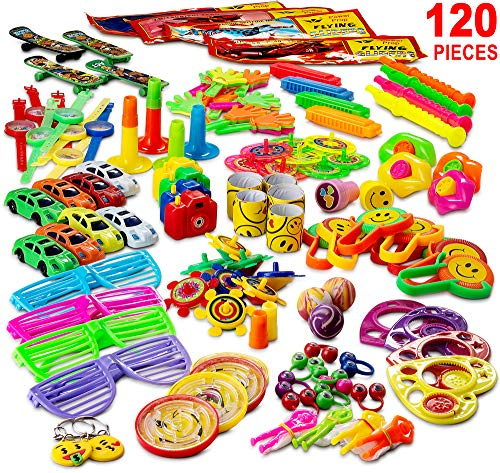 Reca 120 Kids Prizes Party Favors for Kids Party, Birthday Party Toy Assortment , Teachers and Parents Rewards, Carnival Prizes, Pinata Fillers , Stocking Stuffers