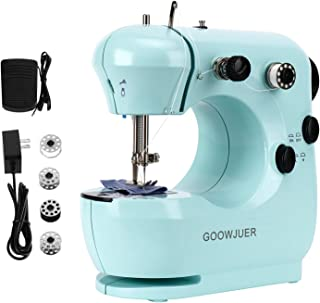 GOOWJUER Portable Mini Sewing Machine,Lightweight Electric Sewing Machines with Extension Table Double Thread Perfect for Beginners Tailors/Arts/Crafting /Household/ Fabric for Kids (Blue)