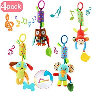 4 PCS Baby Soft Hanging Rattle Crinkle Squeaky Toy - Baby Toys for 0 3 6 9 to 1 Animal Ring Plush Stroller Infant Car Bed Crib Travel Activity Hanging Wind Chime with Teether for Boys Girls