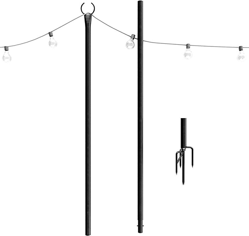 Outdoor String Lights Pole 1 X 8f Patent 4 Prong Fork To Dig Deep Light Up Patio Or Garden With LED Or Solar Hanging Bulbs Water Resistant Steel Powder Coated Poles For House Caf Wedding